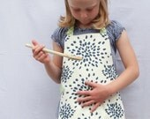 Kids Apron, Handmade Child Apron, Navy, Ivory, and Lime Green Handscreened Fabrics, Fits 3-7