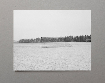 Football Posts on a Snowy Field, Black and White Photography, Winter Landscape, England, UK, Minimalist Photography, Winter Home Decor, Art