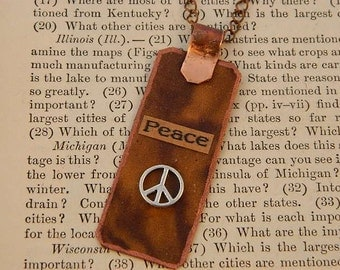 Peace necklace Mixed media jewelry Inspirational jewelry typographic jewelry