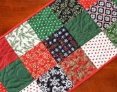 Quilted Christmas Table Runner, Be Jolly, Snowman, Black Green White Red