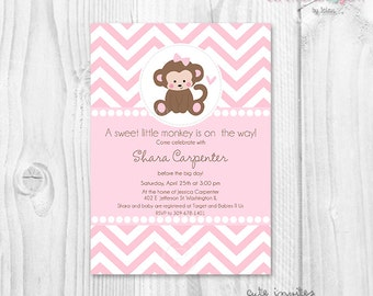Monkey baby shower printable invitation, pink chevron invitation, baby girl baby shower invite, cute monkey