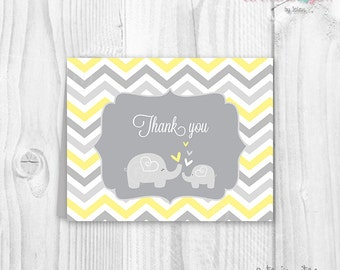 Baby shower elephant thank you cards yellow and grey chevron PRINTABLE
