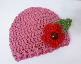 Newborn, baby girl hospital hat with flower