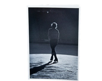 Figure Skating Silhouette of a Figure Skater in the Spotlight Standing on the Ice Blank Greeting Card