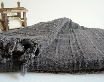 Turkish towel hand loomed Peshtemal Towel for beach and bath in Black Vintage Inspired Stone Washed pure soft