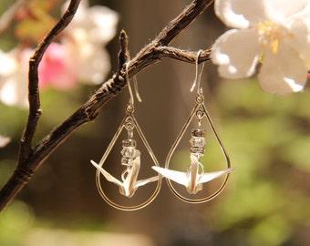 White Origami Crane in Sterling Silver Tear Shaped Hoop dangle earrings