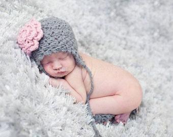 Newborn Flower Pink and Grey Ear Flap Hat Photo Prop 0-12 Months