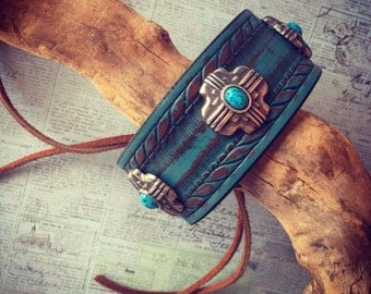 Adjustable Leather Cuff with Turquoise Conchos, Tribal Leather Bracelet, turquoise