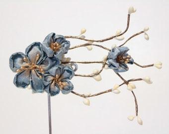Cherry blossom hair accessories - light  Blue  kanzashi   flower hair clip - Bridal Hair - light blue SAKURA