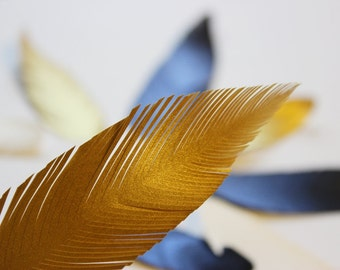 100 handcut paper feathers