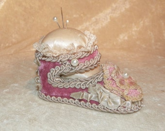 Pin Cushion Adorable Designed by Wayne M. Kleski Baby Shoe in Rose, Mauve and Pink... Just Perfect!