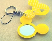 Strawberry and Mickey Mouse Resin Keychain/Cell Phone Charm with Mirror