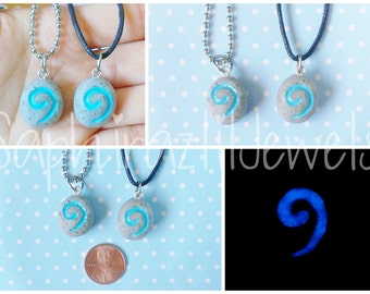 Glowing Hearth Stone Inspired Necklace/Pendant (Glow-in-the-Dark-Blue)
