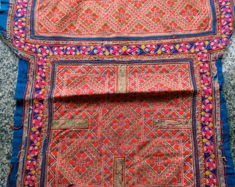 Vintage Hmong Fabric, handmade tapestry textiles, hill tribal fabric