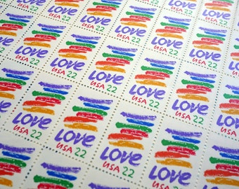 SALE! - 50 pieces - 1985 22 cent RAINBOW LOVE Vintage unused stamps - colorful rainbow design, great for same sex wedding invitations