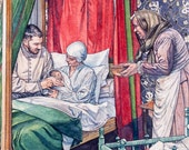Shakespeare 400 art - original published illustration - watercolour artwork depicting Shakespeare's birth