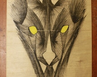 wood wall art, Hyena