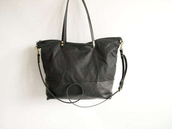 waxed canvas and leather diaper bag skye large black. Black Bedroom Furniture Sets. Home Design Ideas