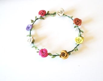 Flower crown -wedding accessory- colorful , pink,  green ,red,blue,lavender headpiece - Leather rose -  Leaves Headband