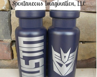 CLEARANCE- Personalized Sport Water Bottle- Transformer Birthday