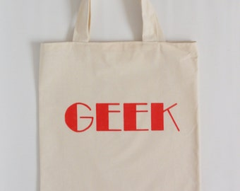 Label tote bag - Geek  - typographic canvas tote