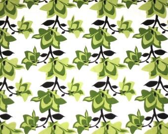 Premier Prints Mikado cotton fabric 1 1/2 yards unused green floral print