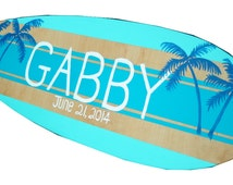 Bat Mitzvah Sign, Personalized Large Surf Board Wall Art, Surfboard with Name SIgn, Beach Wedding Sign, Surf Board Sign, New Baby, Gabby