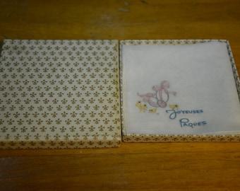 "French Linen/cotton hankie ""Joyeuses Paques"""