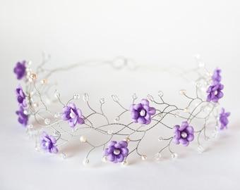 32_Lavender wedding, Wedding flower crown, Lilac flower crown, Wedding hair accessories, Tiara flower girl, Bridal headband, Flower crown.