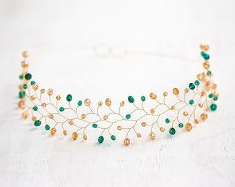 11_Green crystal headband, Gold hair accessories, Bridal hair piece, Wedding crown, Bridal tiara, Hair accessories for bride, Tiaras