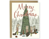Holiday Card - Squirrel Family Christmas - Merry Christmas Card, Happy Holidays, Christmas Cards, Christmas, Woodland