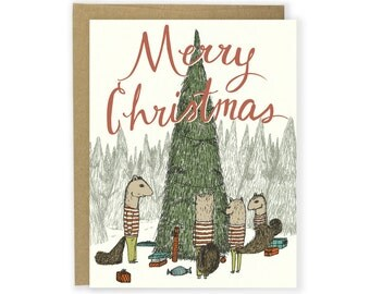 Holiday Card - Squirrel Family Christmas - Merry Christmas Card, Happy Holidays Card, Christmas Cards, Christmas Card, Woodland