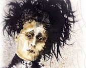 """Martinefa's Original watercolor and Ink """"Edward"""" character of """"Edward Scissorhands"""""""