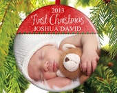 Baby's First Christmas Ornament - Photo ornament - Picture Ornament