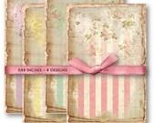 Digital Collage Sheet Download - Shabby Floral Stripe Backgrounds -  837  - Digital Paper - Instant Download Printables