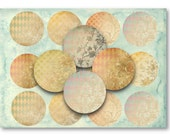 """Digital Collage Sheet Download - Shabby Background 2.5"""" Circles -  872   for Jewelry Pendants - Instant Download Printables"""