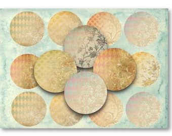 "Digital Collage Sheet Download - Shabby Background 2.5"" Circles -  872   for Jewelry Pendants - Instant Download Printables"