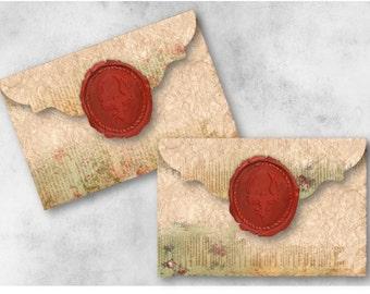 Digital Collage Sheet Download - Wax Seal Vintage Floral Envelopes -  936  - Digital Paper - Instant Download Printables