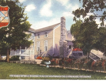 Vintage Linen Postcard...The Home of Will Rogers, 12 Miles Northwest of Claremore, Okla....Unused...no. 1490