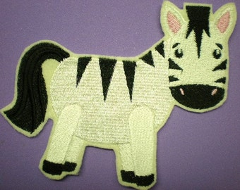 Large 5 X 4 Inch Embroidered Zebra Iron On or Sew On Applique Patch, Zebra, Childrens Appliques