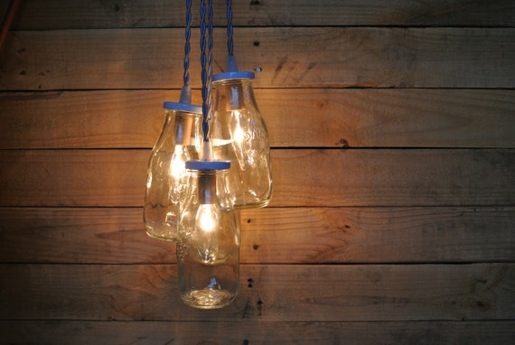 Items similar to glass milk bottle chandelier cluster four dairy bottle pendant light on etsy - Glass bottle chandelier ...