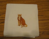 Machine Embroidered Orange Tabby Cat Flour Sack Dish Towel