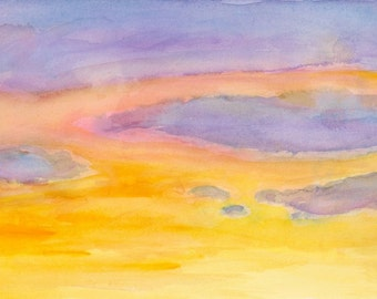 Purple sunset clouds, golden orange sky, scenic landscape print, 8.5x11 sky wall decor Home & Living America color, digital print, gift idea