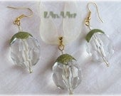 Sale of SUMMER FRUITS SILK jewelry set pendant and earrings of green colored natural silk cocoons, big clear beads, golden color metal parts