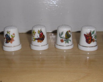 Vintage Thimbles - Bone China Thimbles, Set of 6 Butterfly Thimbles