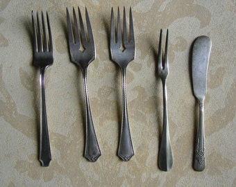 Vintage Silverware - 4 Forks and Butter Knife for Repurposing - Rogers, Community