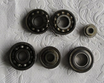 Steampunk Altered Art Supplies - Workshop Supplies - Mixed Lot Bearings - SKF Industries - Made in USA - Steel