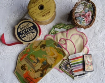 Sewing Collectibles - Corticelli Soutache Braid - Beldings Taffeta - German Needle Card - English Needle Pack - Pincushion - Flower Applique