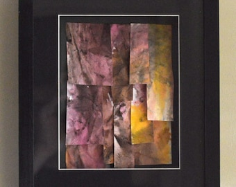 Hand Dyed Paper Collage, Shades of Pink in a Black Frame - Watercolour Inks Tile Floating 3D Effect Original Artwork