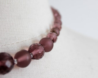 Amethyst Purple Glass Necklace - Lilac Lavender, Graduated 16 Inch, Faceted Crystal, Frosted Glass, Beaded Necklace